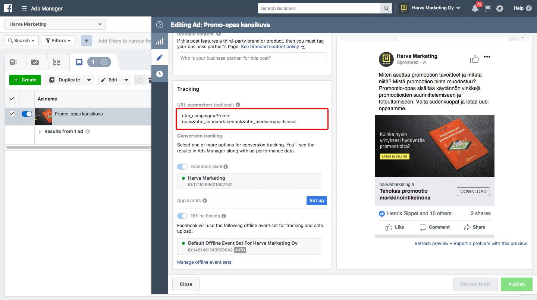Tagine lisäys Facebookin mainostyökalussa