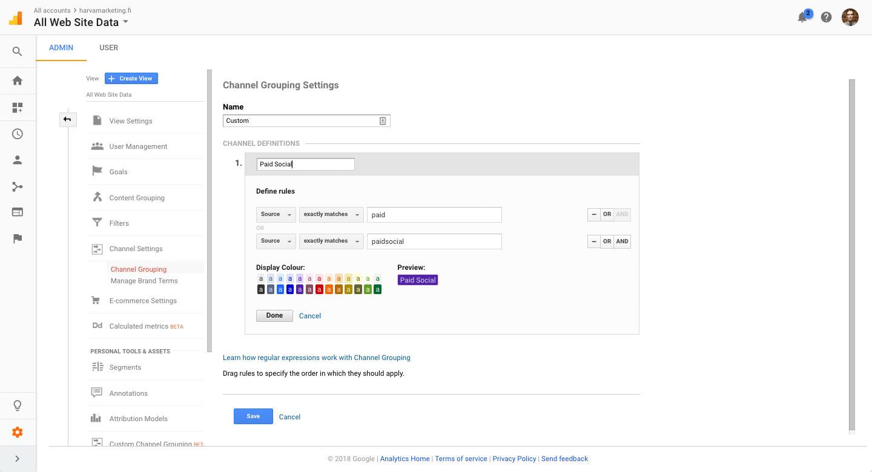 Uuden kanavaryhmän luominen Google Analyticsissa
